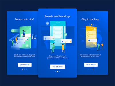 Jira Welcome Illustrations illustration future mobile team people gradient jira productivity business task empty state phone