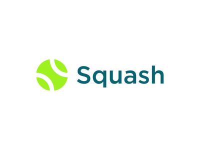 Squash negative space tennis ball letter s concept logo design branding