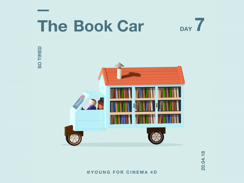 The Book Car illustration flat design c4d