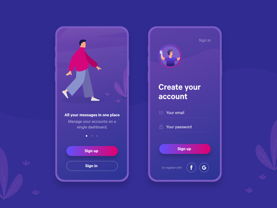 Sign Up / Sign In sign up messenger illustration design concept app ui