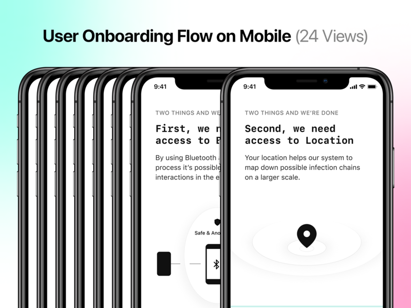 User Onboarding Flow Template on Mobile (24 Views) location pin location bluetooth ux design figmadesign figma product design ui design app design ios splash screen onboarding illustration onboarding ux onboarding flow onboarding screens onboarding screen onboarding ui flow template onboarding