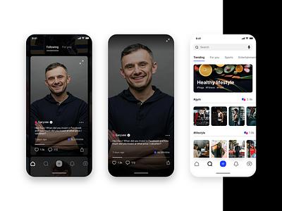 Social Video App Concept gary vee modern flat tiktok social video app dark ux design ui clean
