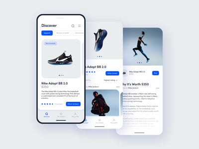 Social network App concept mobile modern ux ui clean sport basketball adidas nike sneakers influencer products eshop ecommerce app network social