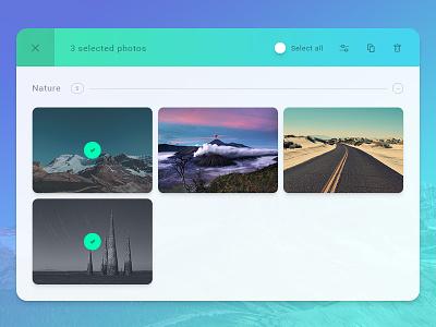 Photo app sneak peek application clean flat ux ui edit print web dashboard interface app photo