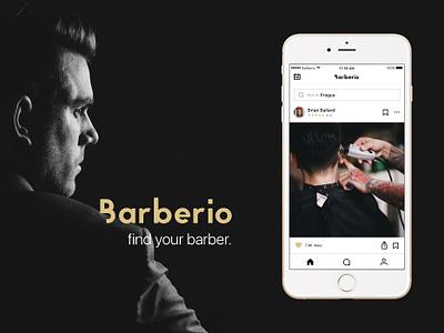 Barberio - Find your barber. network social clean elegant barbershop barber mobile concept app design ui ux