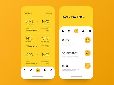 Flights App UI navigation menu modern design filter travel flight boarding pass plane icon yellow clean ui ux app