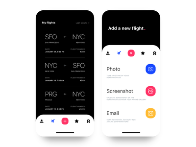Flights App UI B&W travel concept design filter menu navigation light dark icon plane flight clean app ux ui black  white