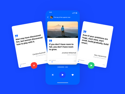 Mindzip Study Screen - Blue App UI slide tinder mindzip learn study ui  ux design modern blue swipe navigation hide love like thought citation quote gary vee clean app