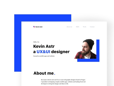 Portfolio & Resume typogaphy photo ux landing page skills work white blue about me cv resume portfolio web design ui clean