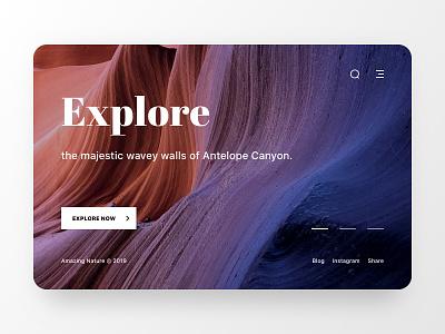 Nature Web UI page antelope typogaphy unsplash daily concept modern design slide clean canyon mountain photo ux ui web