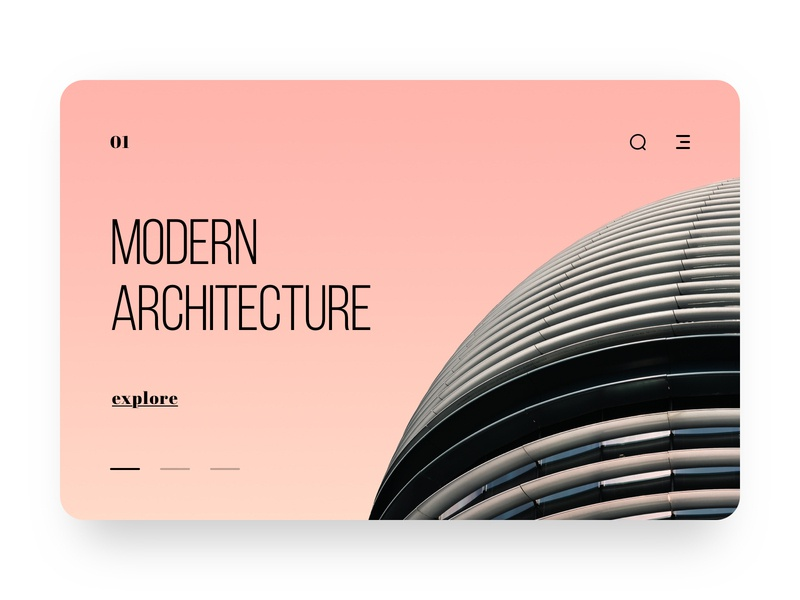 Architecture Web Ui icon photo gradient pink typography bebas neue building architecture carousel modern slide web ux design ui clean