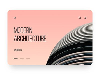 Architecture Web Ui icon photo gradient pink typography bebas neue building architecture carousel modern slide web ux design ui clean