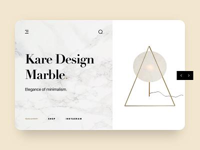 Home Accessories Web UI modern gold clean simple minimalism typography ux ui marble arrows slide web interior floor lamp design kare