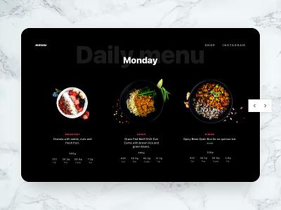 Daily menu web UI fitness healthy vegan photo restaurant gastronomy layout dark black food design ux ui web menu daily