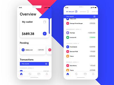 Mobile Wallet App UI pending wallet transaction spendings dashboard overview modern app mobile icons finance ecommerce money clean bank balance account design ux ui