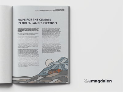 The Magdalen, May 2021 magazine illustration hope climatechange climate snow mountain design graphic  design graphicdesign illustration greenland article magazine