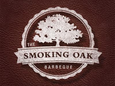 Smoking Oak Logo bembo oak tree texture logo bbq ribbon scalloped oak tree