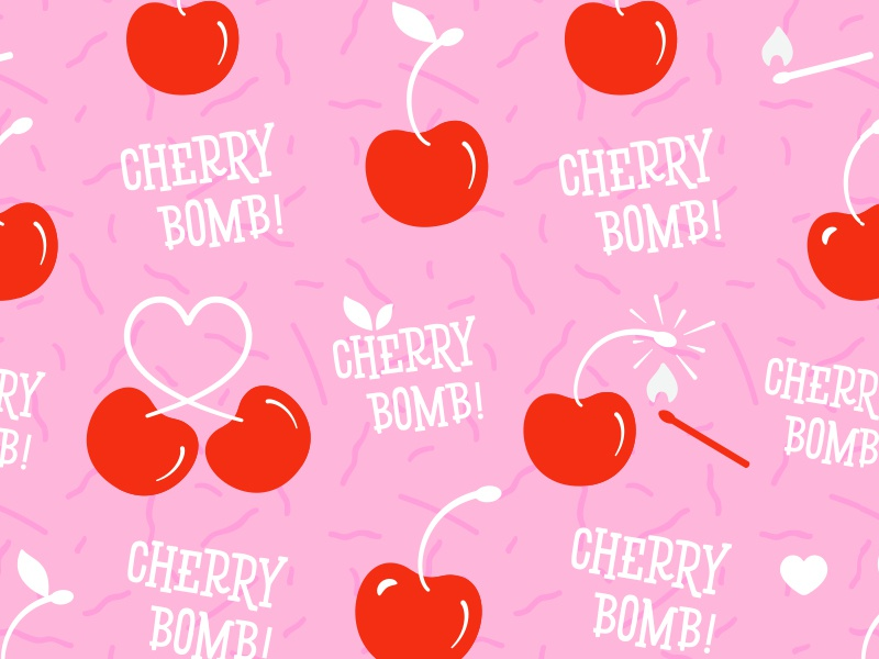 cherry bomb pattern illustration by suzie jurado dribbble dribbble