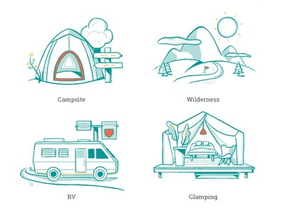 Campr – Camping Illustration Types procreate iconography hand drawn sketch wilderness rv glamping mountains tent camping illustration