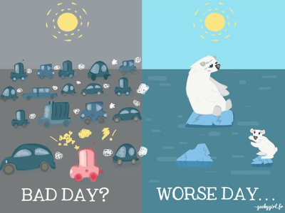 National wildlife day polar bear trafic jam global warming