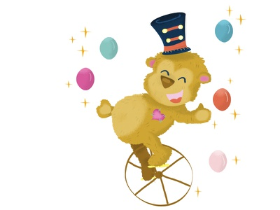 Teddy bear cirque ours alphabet nursery room kids illustration parade circus bear