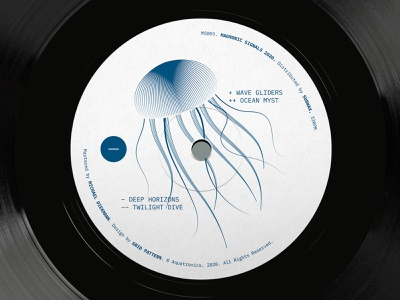 Aquatronics - Deep Horizons EP (close-up) vinyl branding illustration vector design graphic  design music