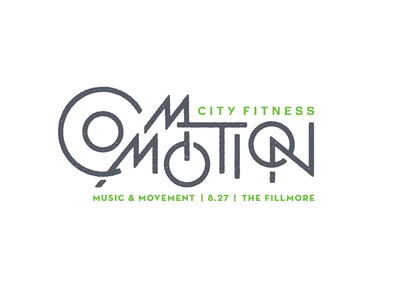 Commotion city fitness logo type branding philadelphia fitness philly commotion