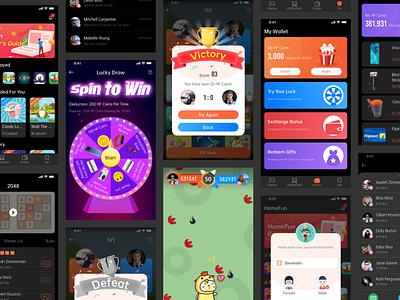 APP on the small game platform card design app design ux game mobile design mobile icon dark ui dark mode app sketch design ui