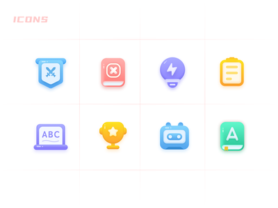 ICONS gradient colors purple yellow blue red icon set clean illustration icon sketch design ui app