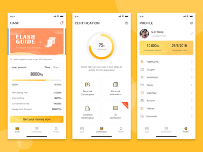 Loan application interface profile mobile icon yellow money app design ux ui apply loan
