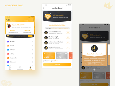 About Member UI Design black sketch icon pop-ups card yellow mobile membership ui design