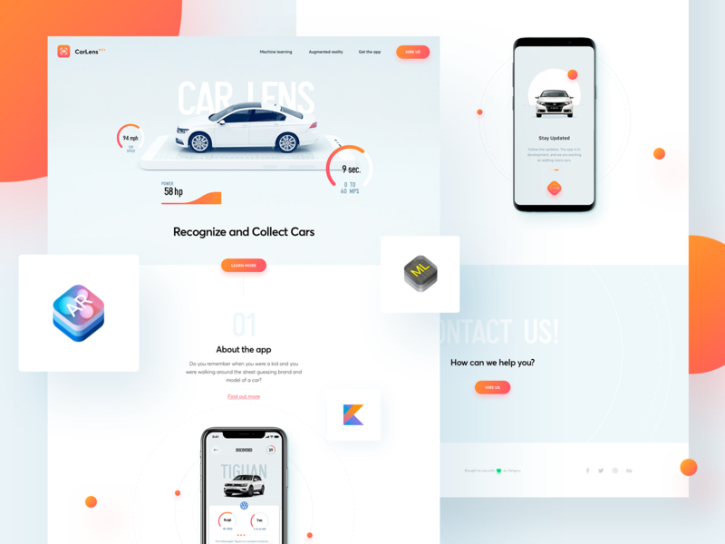 CarLens - Landing Page web ux ui design machine learning landing page cars car automotive augmented reality ar 3d
