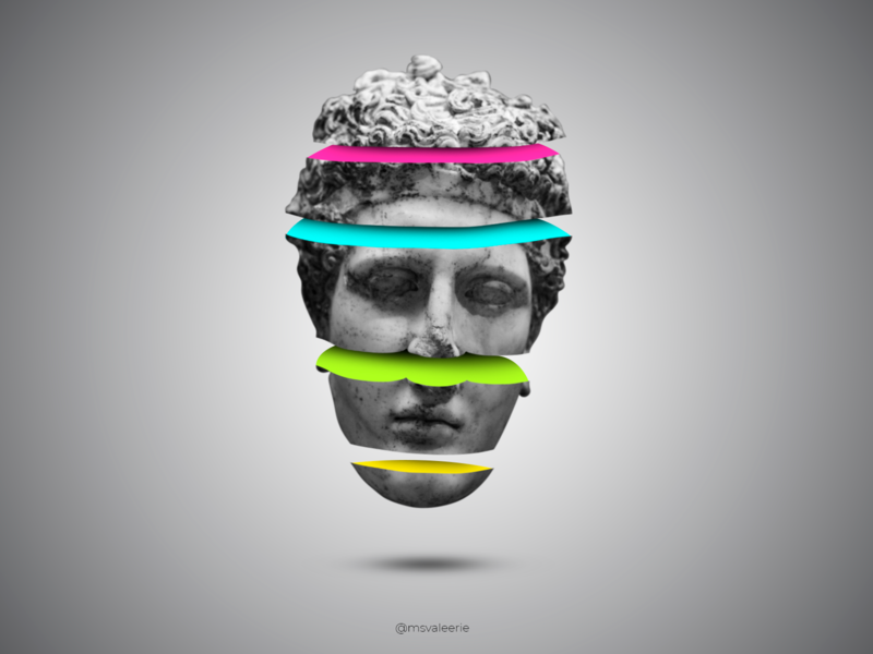 Marble head of an athlete poster colors graphicdesign design