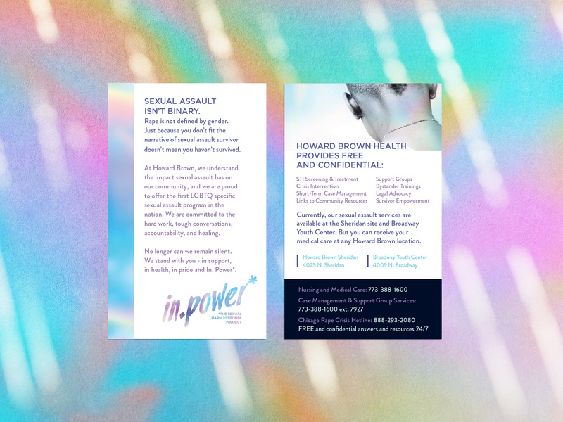 in.power* Sexual Response Team note card brochure print ad postcard healtcare handout print collateral print nonprofit design brand queer lgbt lgbtq consent social change sexual health healthcare branding social justice