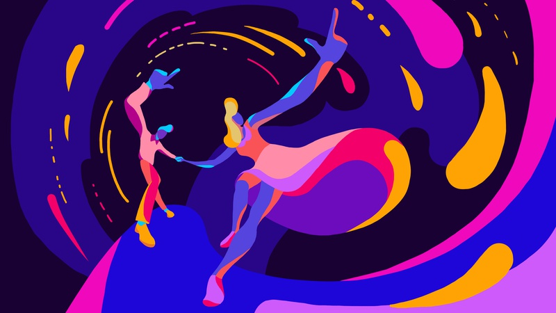 Swing dance jazz lindy hop dance party dance abstract swing dance 2d character digital art 2d artist illustration