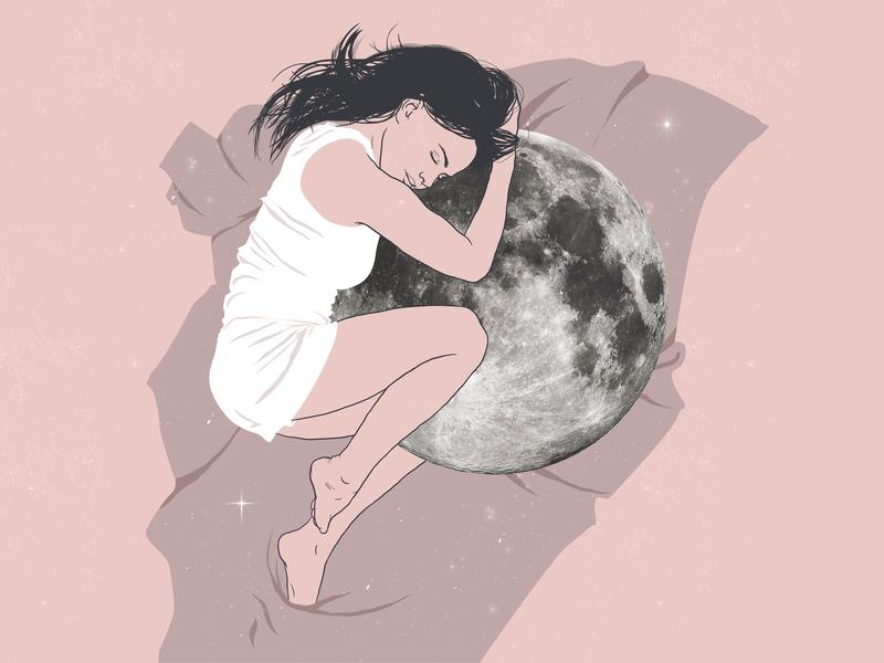Insomnia moon woman illustration millenial pink line art graphic art illustration art photoshop illustration digital drawing