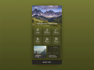 Hiking Map Animation material color natural ui concept guide hiking details map mobile animation design app