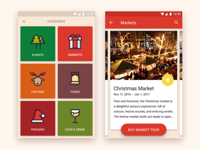 Christmas Event app mobile android palette color natural events cards app event christmas design material