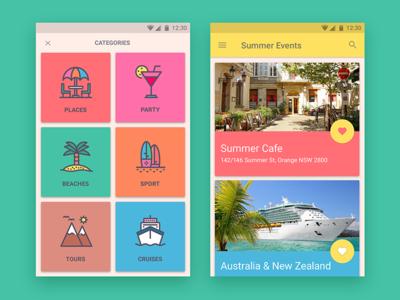 Australian Summer Event app android mobile palette color natural events cards app event summer design material
