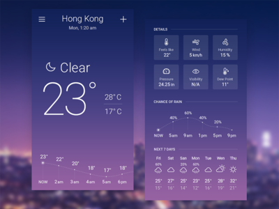 Sky-inspired Weather App Concept. Clear night.