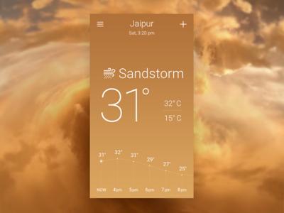 Sandstorm Sky-inspired Weather App Concept