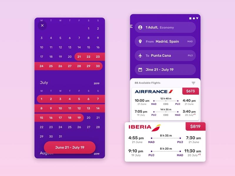 Flight Booking plane airplane airline tickets mobile app color colors palette natural design art ui flight booking booking calendar flight search app flights flight mobile concept
