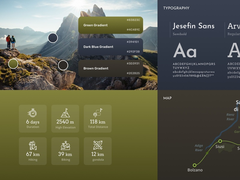 Hiking app Styleguide natural styleguide style guide concept ui design app
