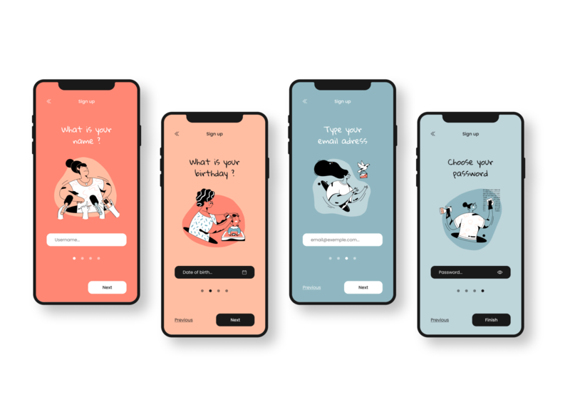 Daily UI #1 - Sign up illustration colors mobile ui mobile app ui mobile sign up signup uidesign ui dailyui 001 dailyuichallenge dailyui