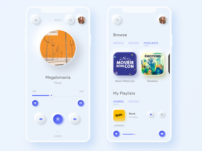 Daily UI  #9 - Music Player modernism minimalist blue and white streaming app music player light blue mobile design mobile app design neumorphism neumorphic skeuomorph app skeuomorphism mobile app ui mobile uidesign ui dailyuichallenge dailyui 009 dailyui