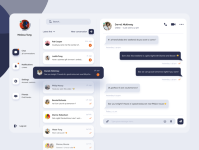 Daily UI #13 - Direct Messaging design challenge uxdesign uxui website website concept ui website modern clear design blue and white interface design dark blue friends uidesignchallenge direct messaging conversation chat uidesign ui dailyui 013 dailyui