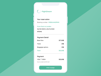 Daily UI  #17 - Email Receipt mobile design booking system minimalist green flight receipt email design receipt email receipt mobile app ui mobile flight booking booking flight designchallenge uidesignchallenge dailyuichallenge dailyui 017 uidesign ui dailyui