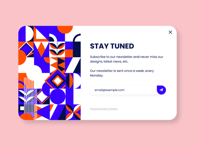 Daily UI  #26 - Subscribe branding webdesign colorful art colorful geometric design geometric pattern geometric newsletter overlay popup uidesign ui dailyuichallenge dailyui 026 dailyui subscribe form subscription box subscription subscribe