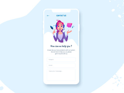 Daily UI  #28 - Contact us interface clean ui form input illustration blue contact page contact form support contact us mobile design mobile app uimobile uidesign ui designchallenge design dailyuichallenge dailyui 028 dailyui