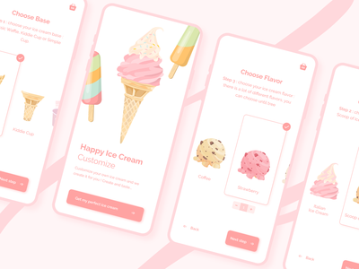 Daily UI #33 - Customize Product food pastel shopping flavor ui design mobile ui mobile app illustration pink customizable ice cream topping ice cream shop ice cream topping personalized customize product customize custom dailyui 033 dailyui